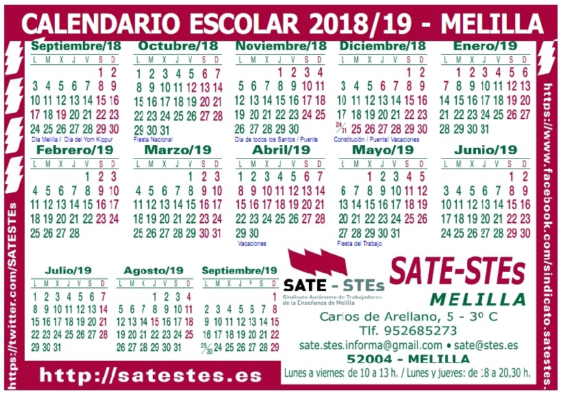 Calendario Escolar Asturias 2020 2019.Sate Stes Sindicato Autonomo De Trabajadores De La Ensenanza De